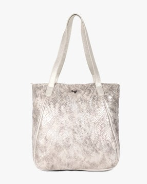 Brands Silver Totes Hobos Textured Tote Bag With Double Handles