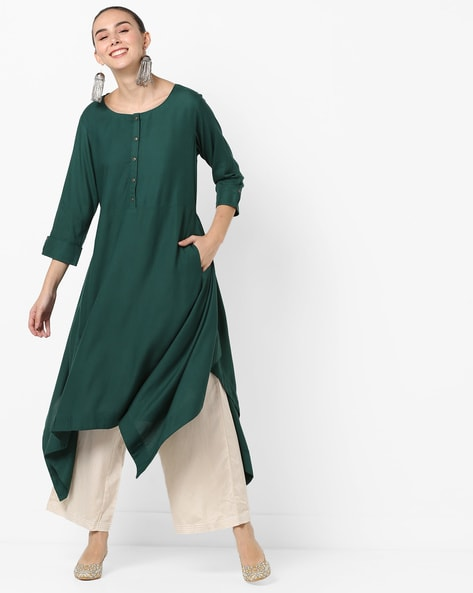 Flared Kurta With Handkerchief Hemline By Project Eve IW Casual ( Green )