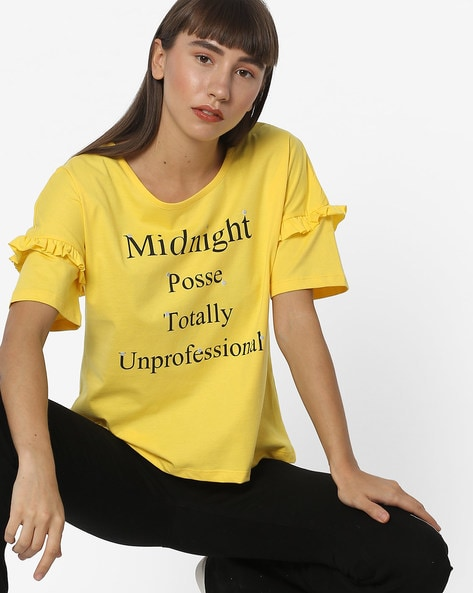 Typographic Print T-shirt With Ruffles By RIO ( Yellow )