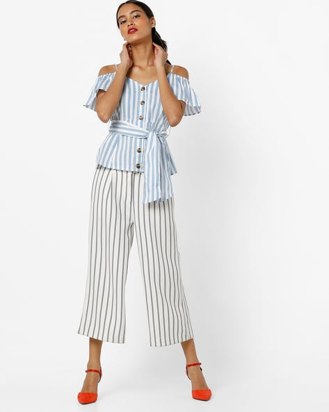 Striped Cold-Shoulder Top With Detachable Belt By AJIO ( Blue )