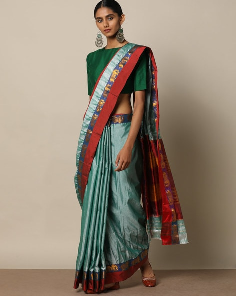 South Silk Ilkal Pallu Saree With Woven Border By Indie Picks ( Green ) - 460176275001