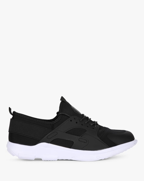 Low-Top Lace-Up Casual Sneakers By AJIO ( Black )