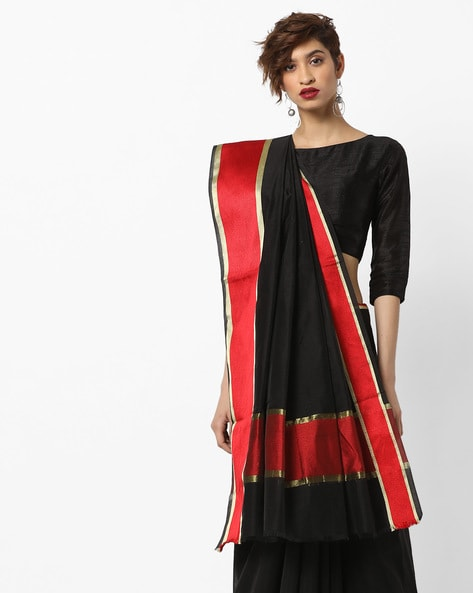 Cotton Saree With Contrast Woven Border By Amori ( Black )