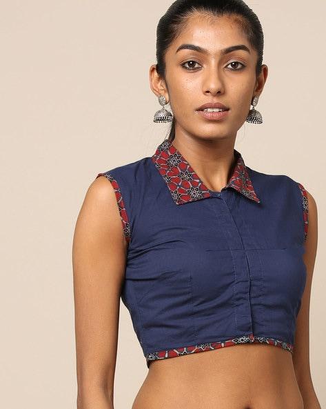 Ajrak Handblock Print Cotton Sleeveless Blouse By Molcha ( Blue )