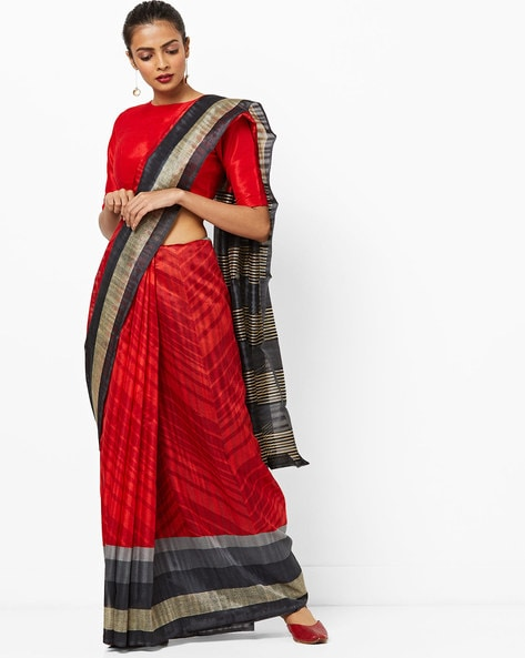 Printed Saree With Contrast Border By Vaamsi ( Red )