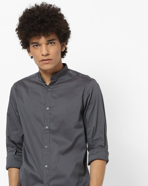 Slim Fit Shirt With Band Collar By Pepe Jeans ( Grey )