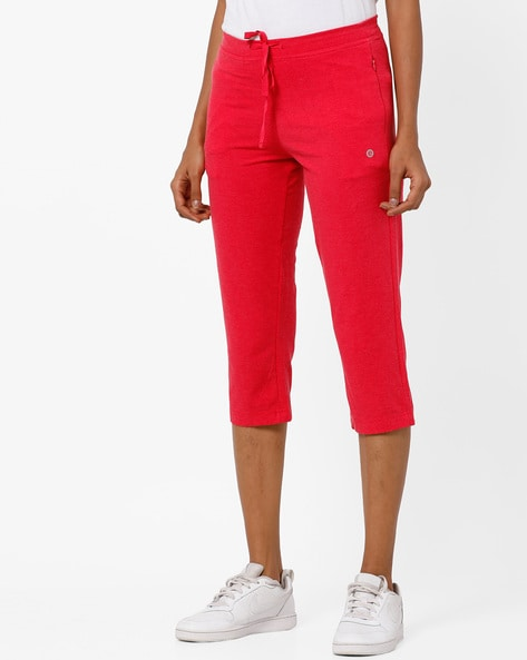 Mid-Rise Capris With Drawstring Waist By Enamor ( Pink )
