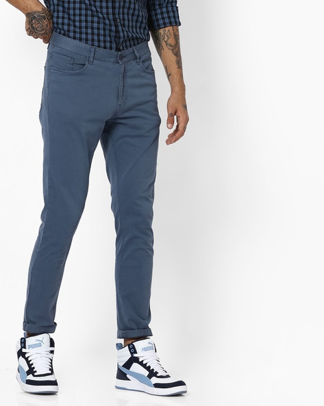 Mid-Rise Flat-Front Pants By AJIO ( Blue )