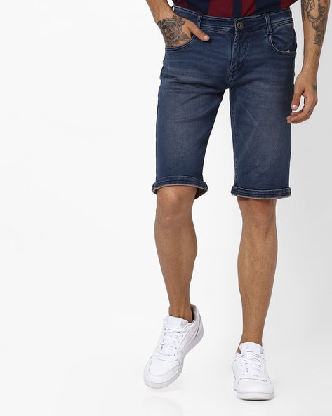 Lightly Washed Slim Fit Shorts By Rodamo ( Blue )
