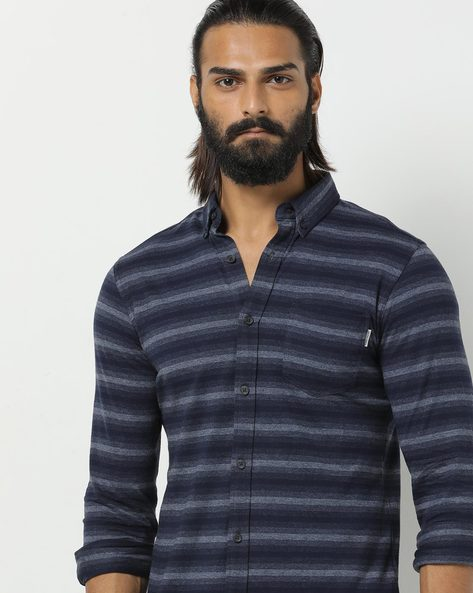 new authentic great fit wholesale dealer Striped Shirt with Button-Down Collar
