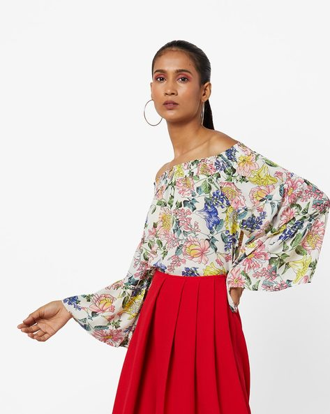 Floral Print Off-Shoulder Top With Bell Sleeves By AJIO ( Ivory )