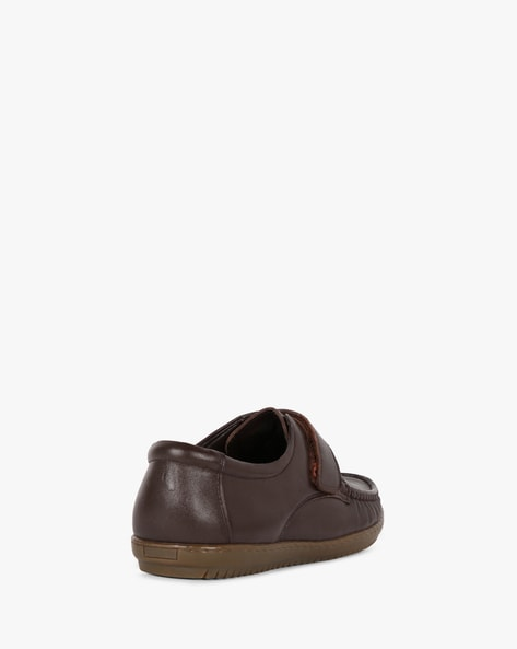 Leather Shoes With Velcro Closure By TEAKWOOD LEATHERS ( Brown )