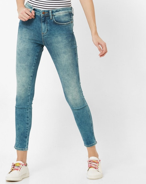 Skinny Fit Ankle-Length Jeans By WRANGLER ( Blue )