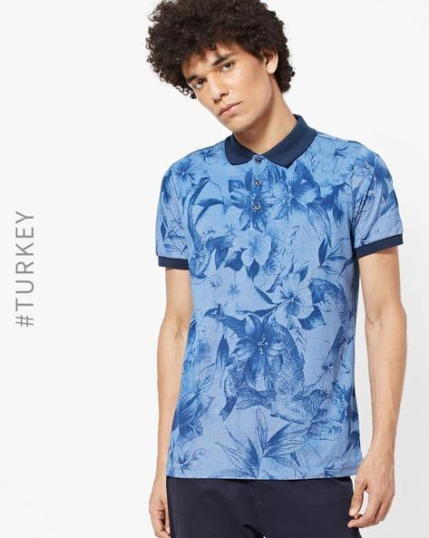 Tropical Print Polo T-shirt With Ribbed Collar By TRENDYOL ( Blue )