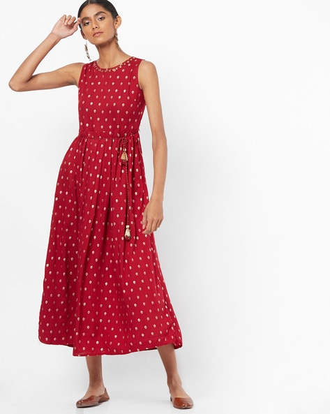 Embellished Floral Print Fit & Flare Dress By Global Desi ( Red )