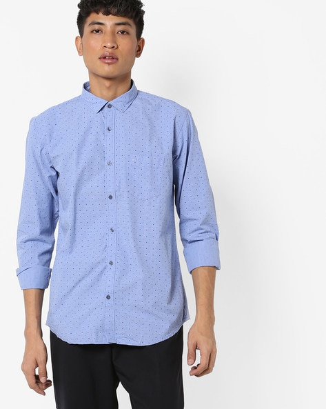 Slim Fit Printed Cotton Shirt By BASICS ( Blue )