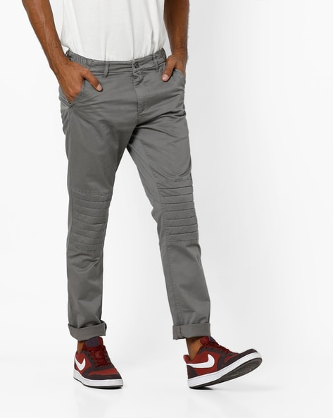 Mid-Rise Trousers With Biker Panels By AJIO ( Stone )