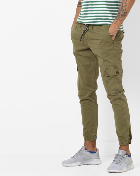 Mid-Rise Slim Fit Cargo Joggers By BASICS ( Green )