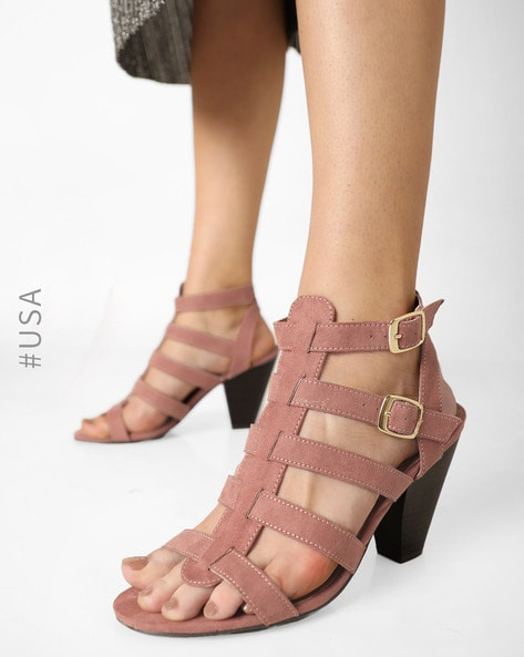 Strappy Heels With Buckle Closures By QUPID ( Mauve )