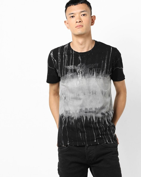 Graphic Print Crew-Neck T-shirt With Washed Effect By SPYKAR ( Black )
