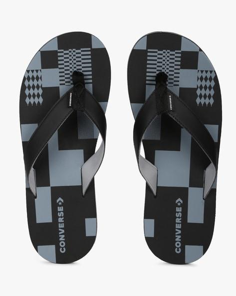 Geometric Print Thong-Style Flip-Flops By CONVERSE ( Black ) - 460214076001