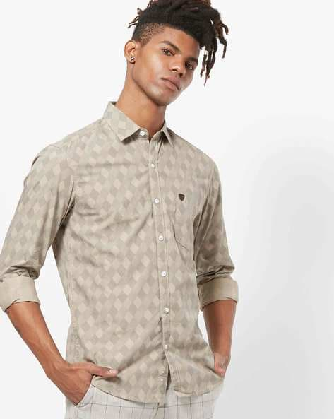 Checked Print Shirt With Patch Pocket By JOHN PLAYERS ( Navy )