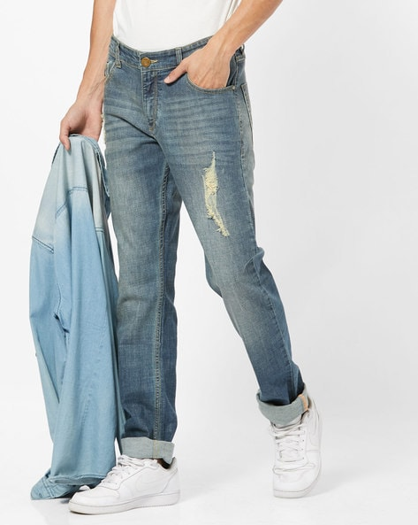 Distressed Skinny Fit Jeans By JOHN PLAYERS ( Blue )