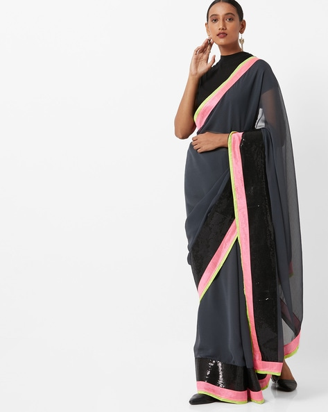 Chiffon Saree With Contrast Border By Vastrangi ( Grey )