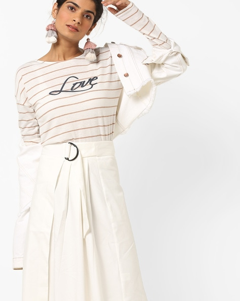 Striped Top With Drop-Shoulder Sleeves By Vero Moda ( White )