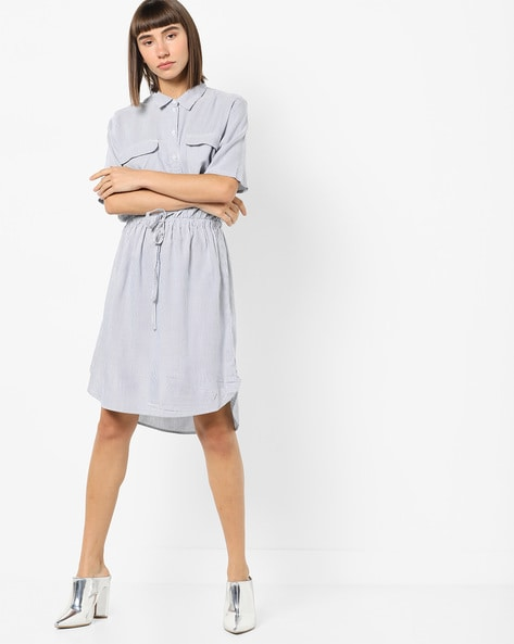 Striped Blouson Dress With Flap Pockets By Only ( White )