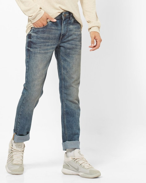 Mid-Rise Skinny Fit Washed Jeans By FLYING MACHINE ( Blue )