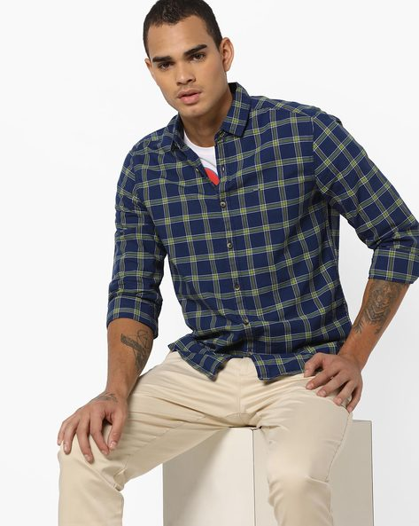 Slim Fit Cotton Checked Shirt By Lee ( Navyblue )