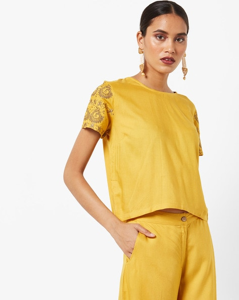 Top With Embroidered Sleeves By AJIO ( Mustard )