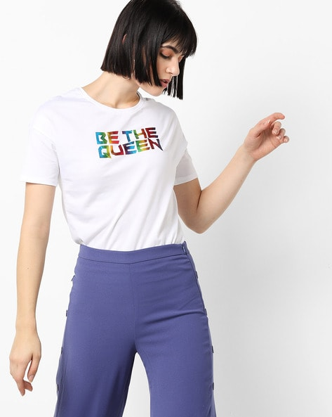 Typographic Print T-shirt With Drop Shoulders By RIO ( White )