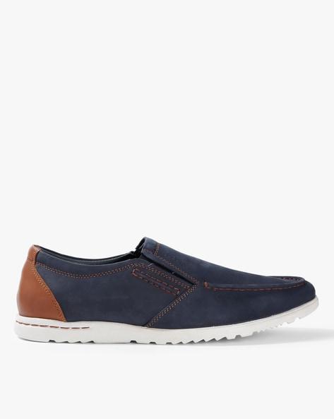 6e1991b38 Lee Cooper Navy Blue Slip-ons Genuine Leather Panelled Slip-On Shoes