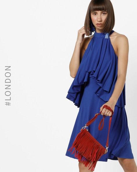 Halter-Neck Pop-Over Dress By MELA LONDON ( Blue )