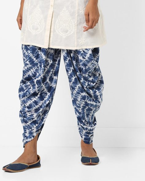 Printed Dhoti Pants With Elasticated Waist By AJIO ( Blue )
