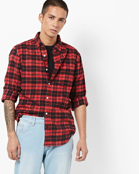 Checked Shirt With Button-Down Collar By Blue Saint ( Red )