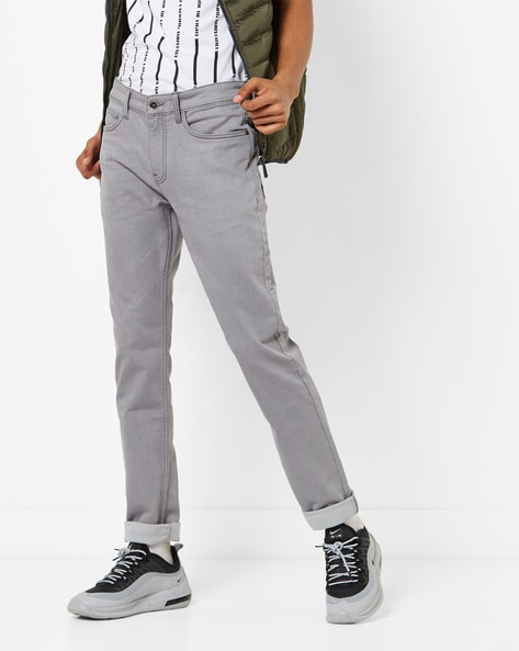 Lightly Washed Mid-Rise Tapered Jeans By AJIO ( Grey ) - 460280568003