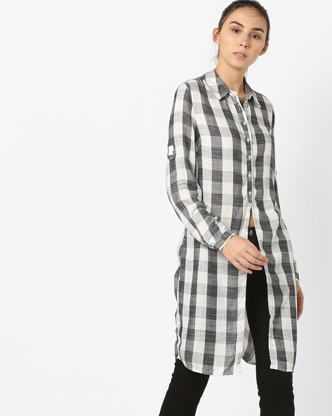 Checked Longline Shirt Top By Vero Moda ( Black )