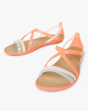 Colourblock Strappy Flat Sandals