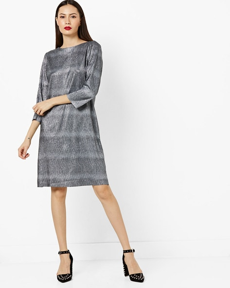 Shimmery Round-Neck Shift Dress By AJIO ( Blue )