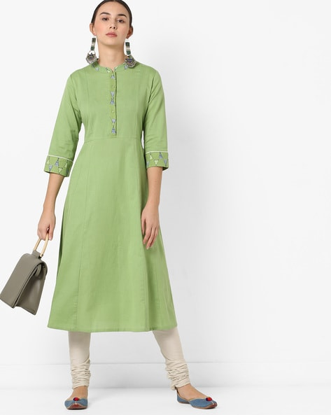 Fit & Flare Dress With Contrast Taping By AJIO ( Green )
