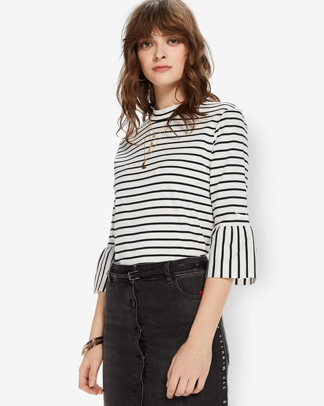 Striped High-Neck Top With Flounce Sleeves By SCOTCH & SODA ( 18 )
