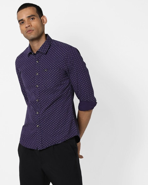 Printed Shirt With Patch Pocket By The Indian Garage Co ( Purple )