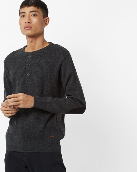 Knitted Henley-Neck Pullover By AJIO ( Charcoal )