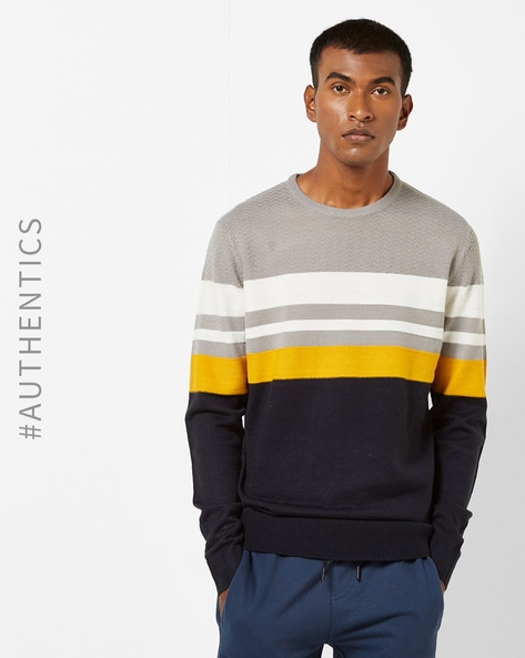 Colourblock Crew-Neck Pullover With Striped Yoke By SOULSTAR ( Navy )