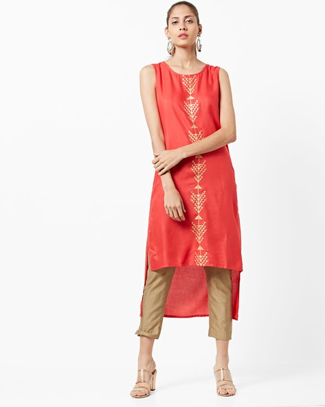 Sleeveless Foil Print High-Low Straight Kurta By FUSION ( Coral )