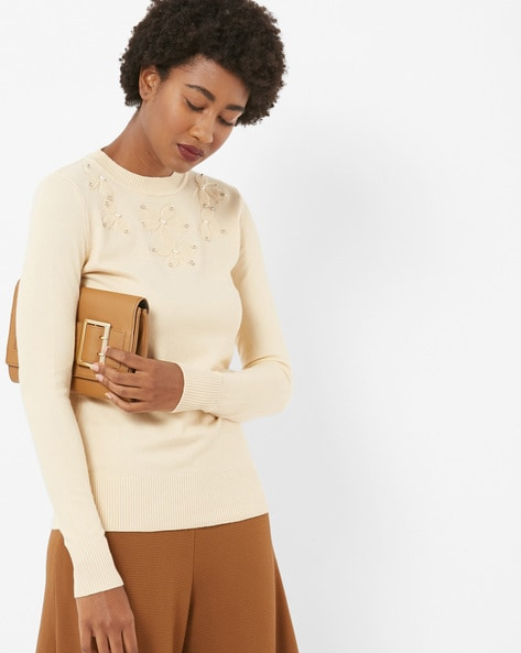Round-Neck Pullover With Embellished Yoke By Fort Collins ( Yellow )