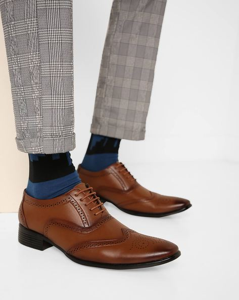 Derby Formal Shoes With Broguing By Enzo Cardini ( Brown )